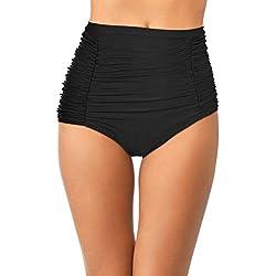 Pantalones Cortos de Natación Retro de Mujeres Braguita de Bikini Fruncida de Alta Cintura Bañador de Tankini para Vocaciones (Negro 1, Talla L)