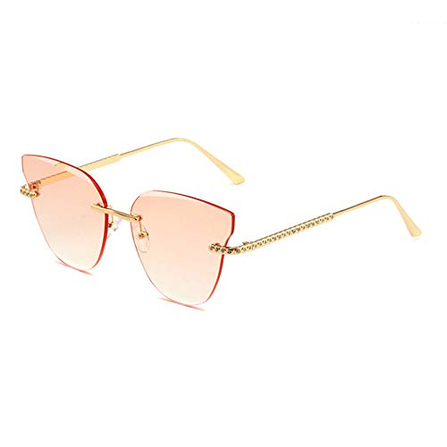 HQMGLASSES Frauen Ton Rahmenlose Cat Eye Sonnenbrille Strass Tempel Sonnenbrille UV-Schutz 400 Schutzbrille Geeignet für Freizeit/Shopping,GoldFrame/GradientOrange
