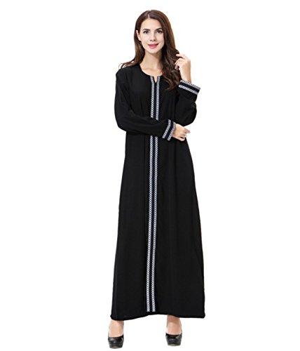 Dreamskull Damen Frauen Muslim Abaya Dubai Muslimische Kleid Kleidung Winter Kleider Arab Arabisch Indien Türkisch Casual Abendkleid Hochzeit Kaftan Robe Maxikleid S-3XL (Grau, XXXL)