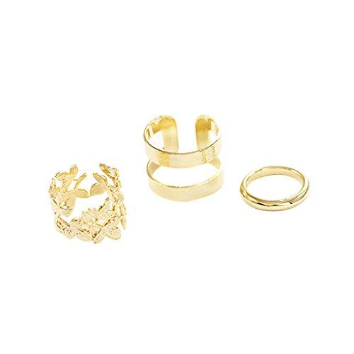 Conjunto De Las Mujeres 3pcs Moda Anillos De Dedo De Nudillos De Metal De Oro Hueco De La Flor