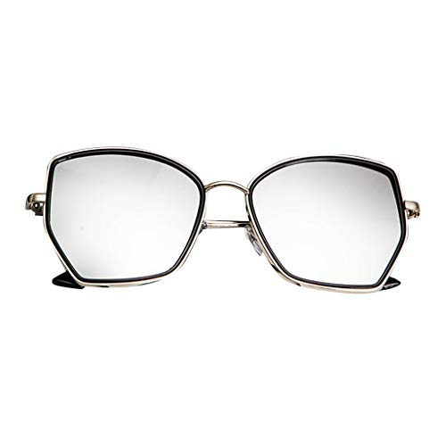 fazry Herren Damen Unregelmäßiges Polygon Jahrgang Flacher Spiegel Mode Brille Brillen Sonnenbrille(Silber)