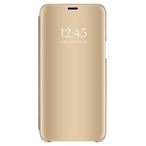 Samsung galaxy a7 2018 cover specchio, clear view standing cover flip case cover custodia con funzione protecter shell in pelle protettiva per galaxy a7 2018 (oro, galaxy a7 2018)