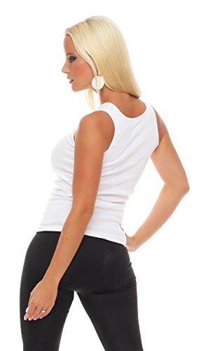 2er Pack Damen Top (Shirt, Oberteil, Damen-Hemd) Nr. 403 ( Weiß / 56/58 - (XXXL) ) - 3