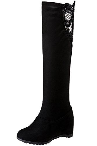 Knie Hohe Cowboy-stiefel (BIGTREE Knie Hohe Stiefel Damen Keilabsatz Herbst Winter Spitzen Casual Kunstleder Warme Bequem Lange Stiefel von Schwarz 36 EU)