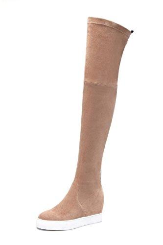 aumento scarpe Beige lunghi interno tallone elastico Chunky X QIN spesso Donna fondo stivali n7PxPq8g
