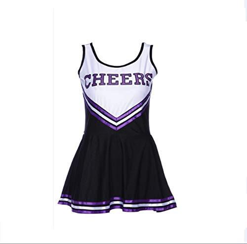 MCO%SISTSR Cheerleader-Kostüm,Mädchen,Das Einheitliches Fußballkleid Highschool Musikkleidungssportwettbewerbs-Tanzleistung,Schwarzes,M