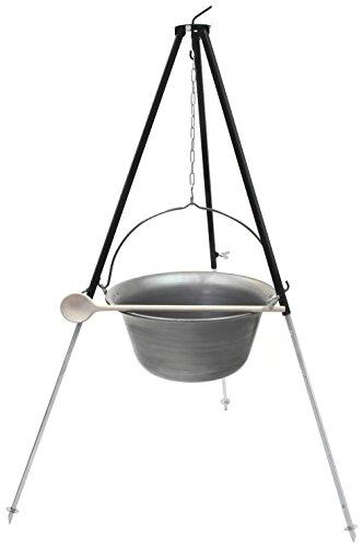 Set Gulaschkessel Gulaschtopf 15 Liter aus Eisen mit Dreibein 1,30 m - Kesselgulasch Dreibein Grill