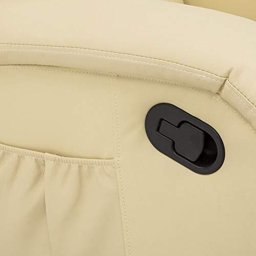 Milanihome poltrona relax reclinabile confort imbottita in ecopelle beige comoda da interno per anziani