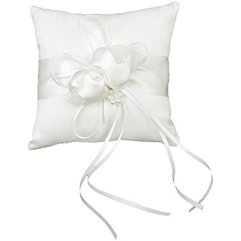 Rosenice 20 * 20cm Boccioli Di Fiori Incantevoli Perle Finte Decor Sposa Ceramony Tasca Cuscino Cuscino Portatore Dell'anello Con I Nastri