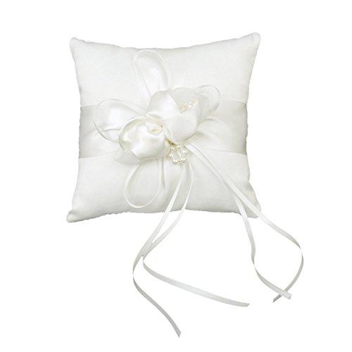 Vorcool 15 * 15cm anello nuziale cuscino boccioli perle finte decor nuziale anello nuziale cuscino cuscino (bianco)