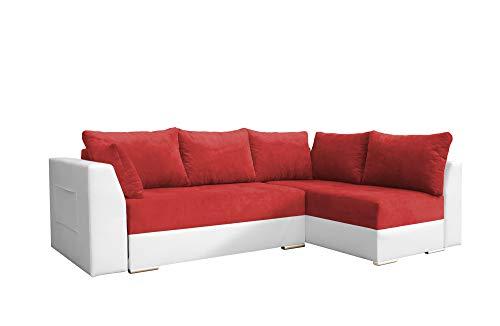 mb-moebel Ecksofa mit Schlaffunktion Eckcouch mit Zwei Bettkasten Sofa Couch Wohnlandschaft L-Form Polsterecke Laos (Rot + Weiß, Ecksofa Rechts)