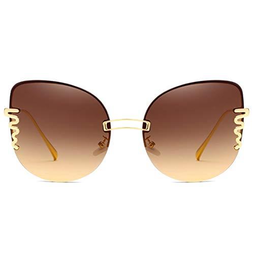 5d2e703df0 MUCHAO Gafas de sol de gran tamaño de Fashion Sin montura Metal Arco iris  Color caramelo