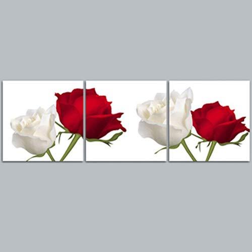 bdrsjdsb 3 stücke ungerahmt rot weiß Rose Muster Platz DIY Kunst Wand dekorative gemälde Poster