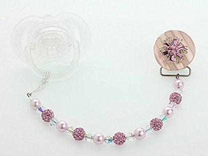 Cristallo Swarovski sogno filigrana Ciuccio Clip con rosa con perline e cristalli Swarovski (cbgf)
