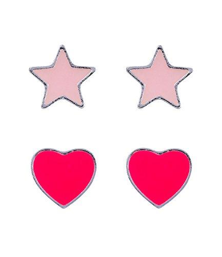 SIX Kids Kinder Schmuck, 2er Set Ohrstecker, mit Herz und Stern, Nachtleuchtend, Selbstleuchtend, pink und rosa (296-950)