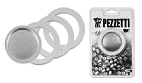 Pezzetti caffettiere ricambio da 3 guarnizioni e 1 filtro per 3 tazze, taglia unica