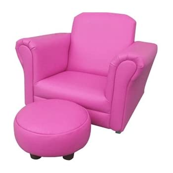 PINK PU LEATHER ROCKING Chair Armchair Kids Childrens With FREE Footstool  (PU LEATHER)