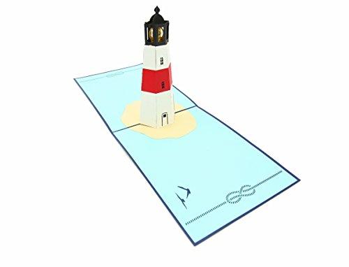 PopLife Cards Popup-Grußkarte der Leuchtturminsel 3d für alle Gelegenheitsreisenden, Küsten- u. Abenteuerliebhaber faltet sich flach für das Versenden des Geburtstages, des Tages der Mutter, des Absc