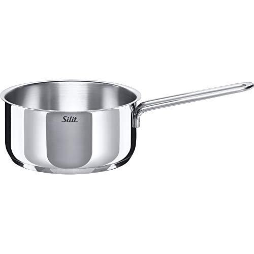 Silit Style Stielkasserolle, ohne Deckel, Ø 16 cm, Edelstahl poliert, Schüttrand induktionsgeeignet, spülmaschinengeeignet, 1,4 l