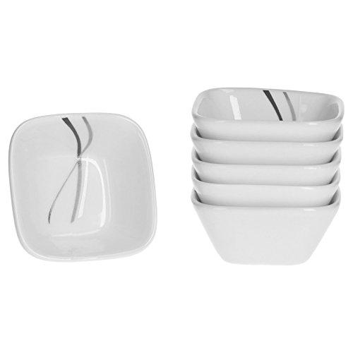 Van Well Silver Night Tapa Lot de 6 Bol 7 cm x 7 cm Blanc Coupelle en porcelaine