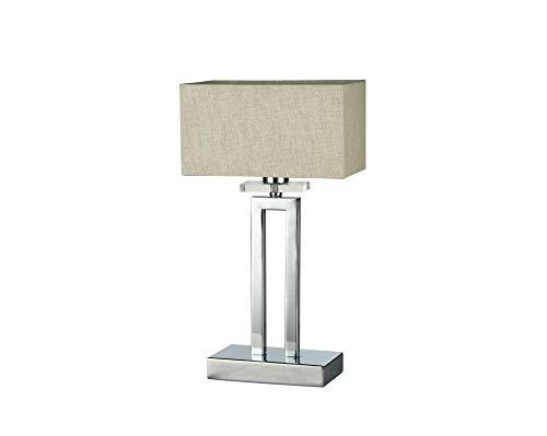 Lámpara de mesa, lámpara de sobremesa, estilo moderno, Art Deco, estructura de metal, pantalla de tela de color beige en forma de cuadrado, bombilla no incluida, 40 W E14 220 V -240 V