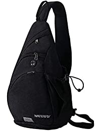 WATERFLY Water Resistant Sling Backpack Small Crossbody Shoulder Bag Casual Chest Bag Hiking Daypack For Men Women...