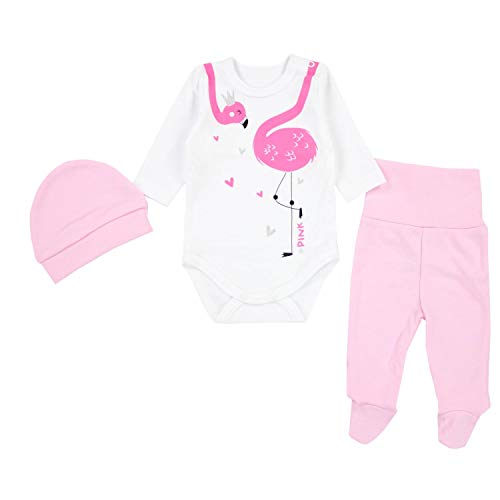 TupTam Baby Unisex Bekleidungsset mit Aufdruck 3 TLG, Farbe: Flamingo Rosa, Größe: 68