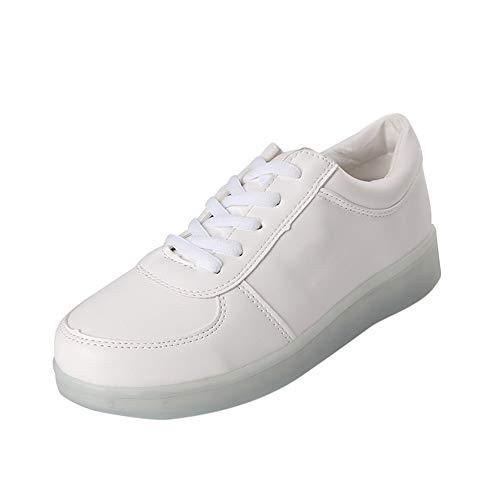 YEARNLY Unisex-Erwachsene Sneaker Classic Low-Top   Bequeme Sportschuhe für Damen und Herren   Low top Turnschuh Textil Schuhe   LED-Beleuchtung Schuhe Bunte Lichter