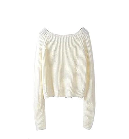 Rcool Damen Lange Strick Ärmel Pullover Lose Top Pullover Pullover Strickwaren Outwear (Weiß)