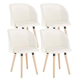 EUGAD 4 X Chaises de Salle à Manger en Velours Assise,Chaise de Cuisine Crème Blanc 0300BY-4