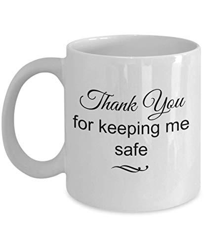Dozili Lustige Kaffeetasse – Schulbus Fahrer Geschenk – Thank You For Keeping Me Safe Kaffeetasse, Neuheit Geschenk Ideen, 325 ml, Weiß