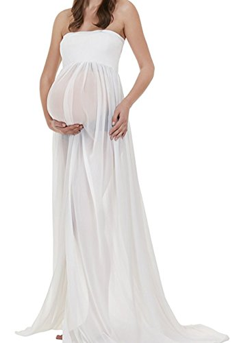 Bettomo Damen Umstandskleid Maternity Schwanger Fotoshooting Lange Chiffon Maxi Kleid Schwangerschafts (Kleid Womens Baumwolle Maxi)