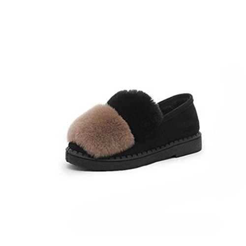 DM&Y 2017 Rabbit Fur Real spessi delle suole piatte scarpe scarpe piselli pattini delle donne morbido fondo coreano Grey