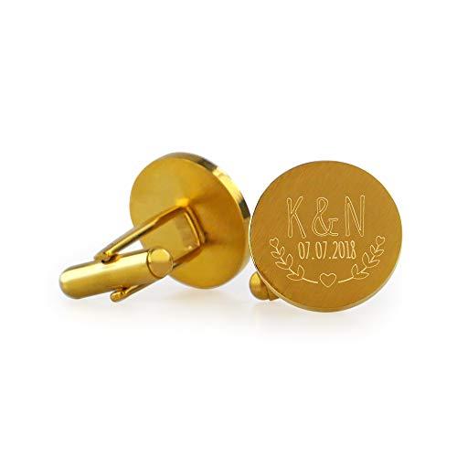 Gravado Herren Runde Manschettenknöpfe aus Gold-Edelstahl – Personalisiert mit Namen und Datum – Blätter Gravur – Hochzeit - Anzug Accessoires