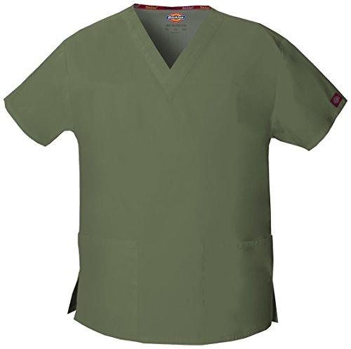 Dickies EDS Workwear Schlupfhemd Medizin 2 Taschen mit V-Ausschnitt (L, olivgrün) - Dickies Kittel