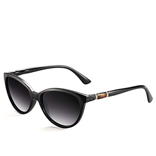 QDE Sonnenbrillen Vintage Polarized Sunglasses Women Gradient Lens Sun Glasses Shades Female Eyeglasses,Black