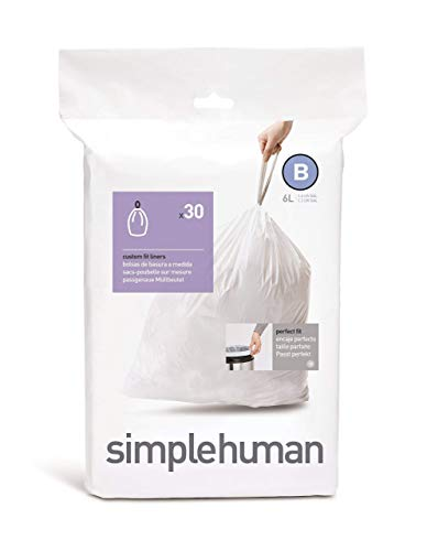 Simplehuman CW0161 Bolsa para Basura 6 L Blanco 30 Piezas - Bolsa de Basura 6 L, Blanco, 30 Piezas...