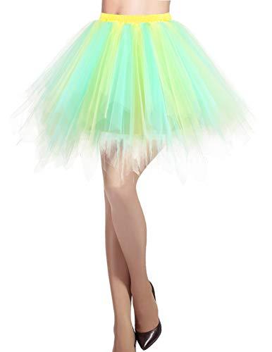 Dresstells Damen Tüllrock 50er Rockabilly Petticoat Tutu Unterrock Kurz Ballett Tanzkleid Ballkleid Abendkleid Gelegenheit Zubehör Champagne-Light Blue M - Ballkleid Light