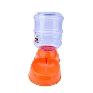 POPETPOP 3.5L Distributeur Croquettes Chat, Distributeur de Nourriture Et D'eau, Distributeur de Nourriture Et Gamelle pour Chien, Chat et Animaux Domestiques (Orange)