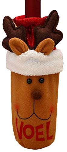 Zalock Weihnachtsdekorationen Cute Weinflasche Tasche mit Kordelzug Wein Set Weihnachten Schön Dekoration für Festival Bankett Party Halloween Hotelrestaurant