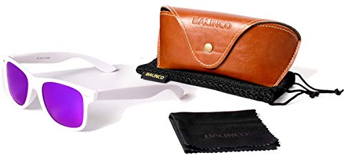 Balinco Hochwertige Polarisierte Nerd Rubber Sonnenbrille im Set (24 Modelle) Retro Vintage Unisex Brille mit Federscharnier (White-Purple Mirror)
