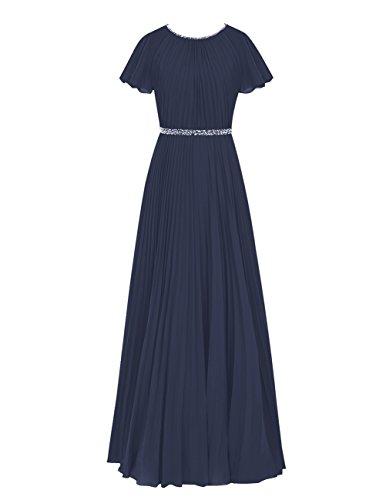 Dresstells Damen Chiffon Rundhals Bodenlang Abendkleider Ballkleid mit Träger Marineblau