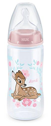 NUK 10216219 Disney Classics First Choice Plus Babyflasche Bambi, 300ml, kiefergerechter Trinksauger, 6-18 Monate, 1 Stück, rosa