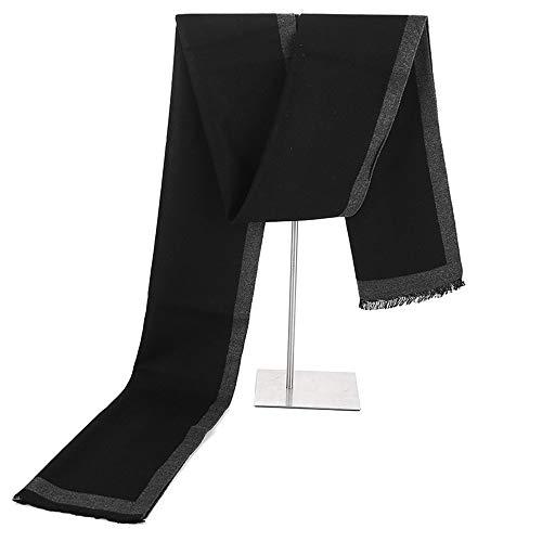 CUICUIMM Herren Schal Neue Herren Schal Simulation Seide Gebürstet Schal Warme Einfache Schal Großzügige Einfarbig Border Schal Schwarz Grau, 30 * 180 cm