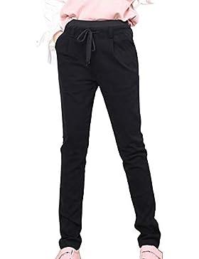Pantalons Chinos Mujer Rectos Skinny Pantalon Largos Con Cintura Elástica