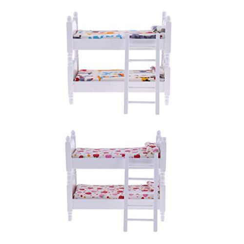 CUTICATE 2 Stück Miniatur Holz Puppenbett Etagenbett Stockbett für 1/12 Puppenhaus Kinderzimmer Dekoration -