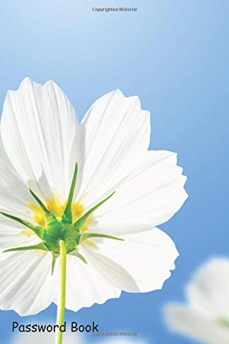 Password Book: Include Alphabetical Index With White Cosmos Flowers Blue  Sky Background