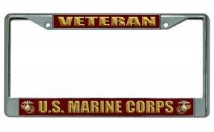 US Marine Corps Veteran chrom Nummernschild Rahmen (Marine Corps Nummernschild)