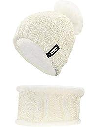 Set di scaldabagno da uomo accogliente Lady s Winter Classic Simple Style 2  pezzi lavorato a maglia Set per donna cappello caldo con pompon… 430adb2a7516
