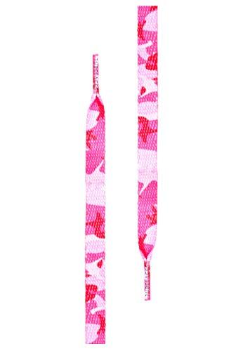 1 Paar Tubelaces Special Flat - Flach - 8,0 mm breit - verschiedene Farben und Längen + Rema Metallschlüsselring Ø 2 cm (90 cm, Camo Pink) -